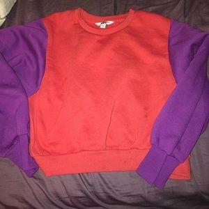 Cropped Color Block Sweatshirt